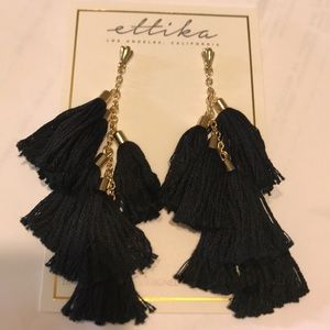 Black and gold 6 tassel earrings